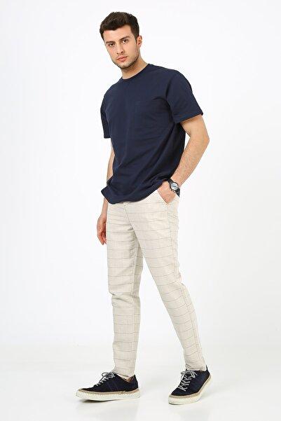 muzzo jeans Erkek Açık Bej Ekoseli Keten Pantolon