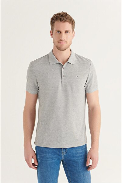 Avva Erkek Gri Polo Yaka Düz T-shirt E001004