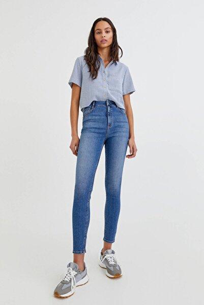 Pull & Bear Kadın Mavi Yüksek Bel Skinny Jeans