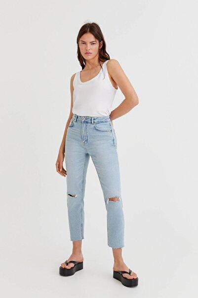 Pull & Bear Kadın  Distressed Slim Mom Fit Jean