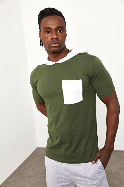 XHAN Haki Kapüşonlu Önü Cepli T-shirt 1yxe8-44965-09