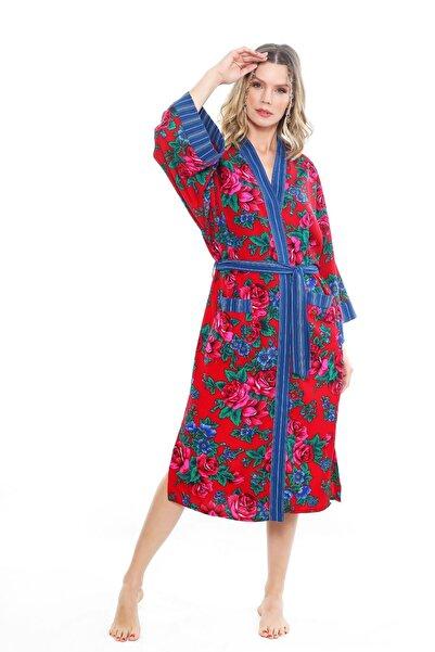 Ayşe Brav Kadın Mavi Çiçek Desenli Yırtmaçlı Kaftan