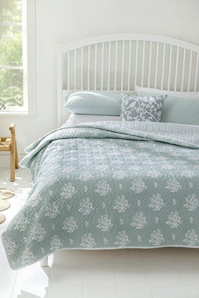 English Home Bouquet Çift Kişilik Çok Amaçlı Örtü 200x220 Cm Açık Seledon