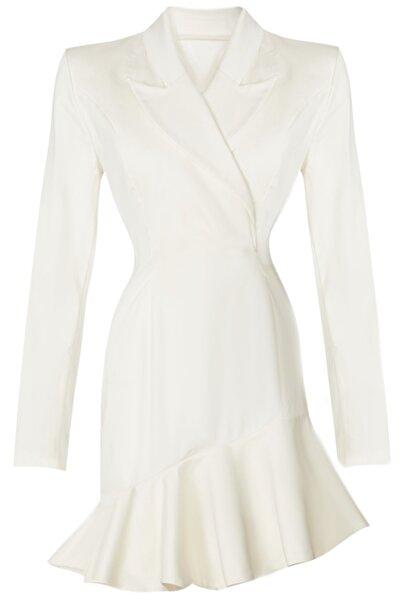 BETTY & SAM Kadın Beyaz Volanlı Kruvaze Nikah Elbisesi