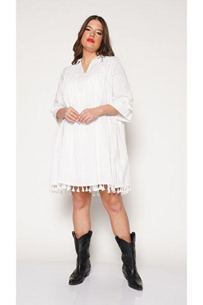 Nelly Kadın Beyaz Büyük Beden  Etek Ve Kol Ponponlu Beyaz Elbise