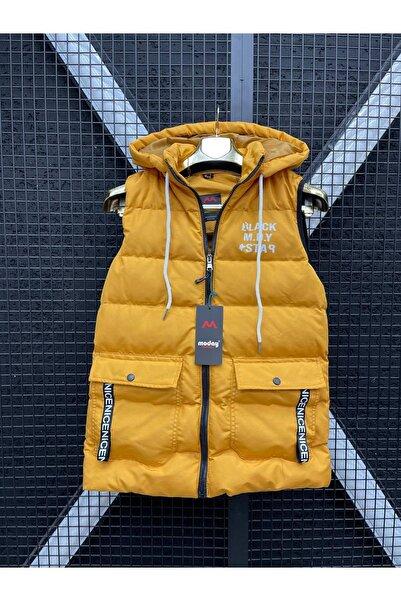 Moday Unisex Sarı Spor Dolum Şişme Kapüşonlu Yelek