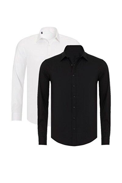 R-Germen Erkek Siyah Ve Beyaz Mat Saten 2'li Slim Fit Gömlek