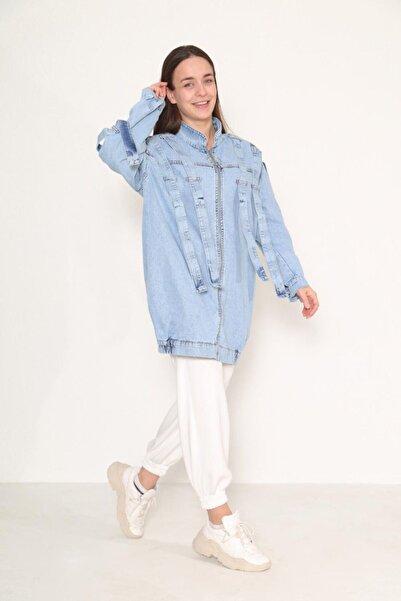 Loreen Kadın Açık Mavi Boydan Fermuarlı Denim Ceket