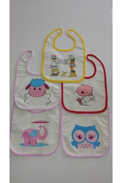 OCT HOME 5 Adet Sıvı Geçirmez Baskılı Cırtlı Bebek Önlüğü