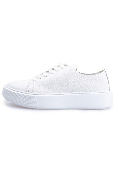 Flower Kadın Beyaz Deri Bağcıklı Sneakers