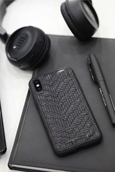 GUARD Örgü Baskılı Siyah Deri Iphone X / Xs Kılıfı