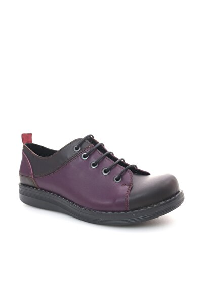Beta Shoes Hakiki Deri Kadın Mor Kombin Günlük Ayakkabı