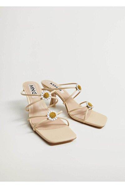 MANGO Woman Kadın Bej Topukları Çiçekli Deri Sandalet