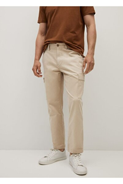 MANGO Man Erkek Bej Pamuklu Kargo Pantolon
