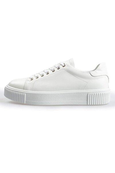 Flower Erkek Beyaz Mat Deri Sneakers