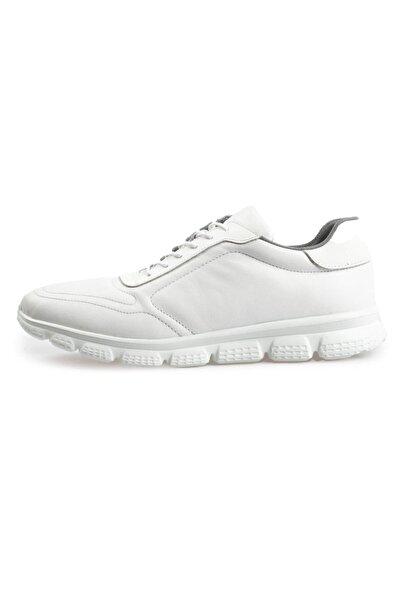 Flower Erkek Beyaz Deri Bağcıklı Sneakers