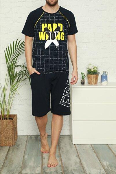 Tom John Lacivert Erkek Şortlu Pijama Takımı Kısa Kollu Cepli Pamuk