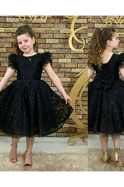 Pumpido Güpürlü Kızçocuk Elbisesi Siyah
