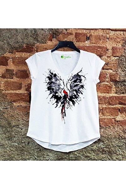 SCUBAPROMO Kadın Anka Kuşu Beyaz Salaş Tişört