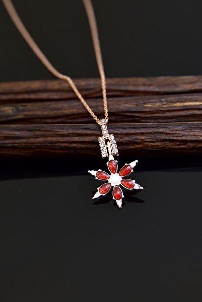 Papatya Silver 925 Ayar Gümüş Rose Kaplama Kırmızı Mineli Kamelya Çiçeği Kolye