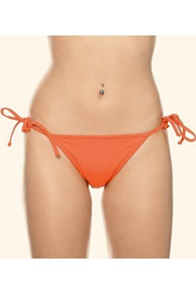 Kom Kadın Yandan Bağlamalı Tek Bikini Altı Oranj