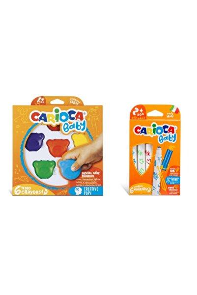 CARIOCA Teddy Bebek Crayons 6lı +1 Yaş & Jumbo Bebek Süper Yıkanabilir Keçeli Boya Kalemi 6'lı