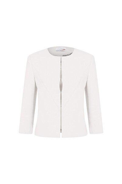 Arzu Kaprol Kadın Beyaz Grafik Kesim Krep Ceket
