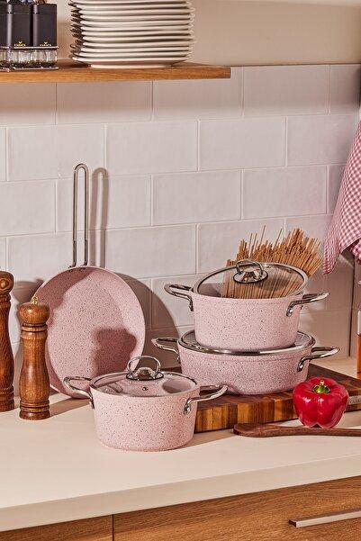 Cookplus by Karaca Biogranit Alfa Pink 7 Parça Tencere Seti