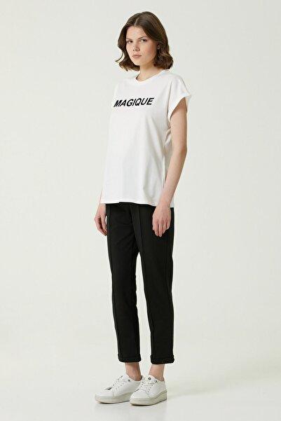 Network Kadın Basic Fit Beyaz Baskılı T-shirt 1079931