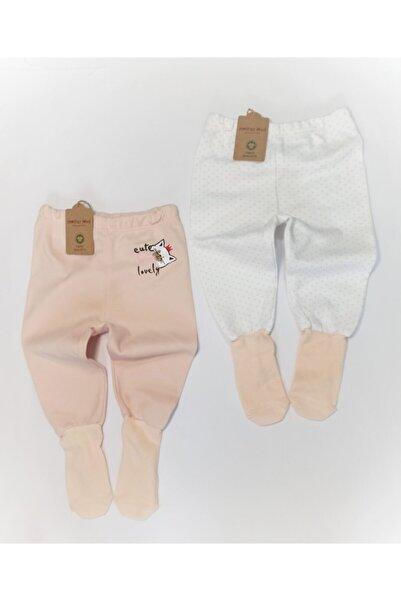Mother Love Kız Bebek Pembe Beyaz Organik Pamuk Çoraplı Pantolon Pijama 2li 0-3 Yaş