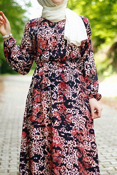 InStyle Yılan Derisi Desen Dokuma Elbise - Kiremit