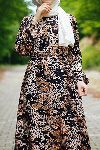InStyle Yılan Derisi Desen Dokuma Elbise - Kahverengi