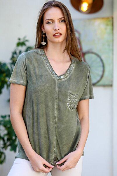 Chiccy Kadın Haki Pullu V Yaka Cepli Etek Ucu İp Bağlama Detaylı Yıkamalı Dokuma Bluz M10010200BL95344