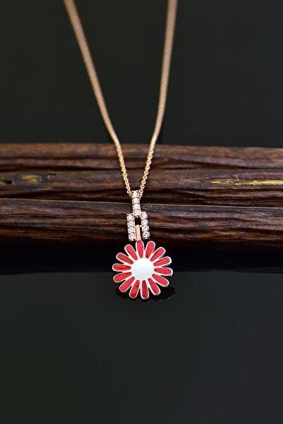 Papatya Silver 925 Ayar Gümüş Rose Kaplama Kırmızı Mineli Papatya Kadın Kolye