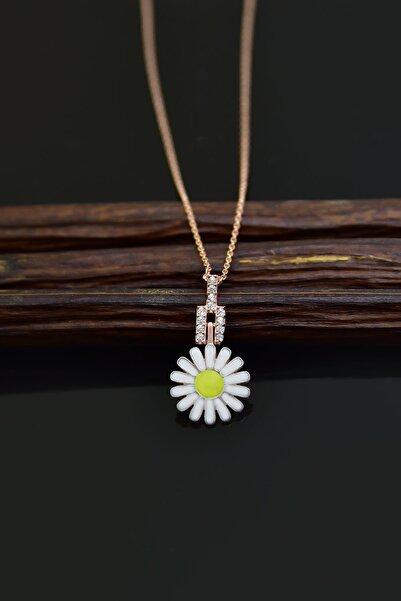 Papatya Silver 925 Ayar Gümüş Rose Kaplama Küçük Beyaz Mineli Papatya Kadın Kolye
