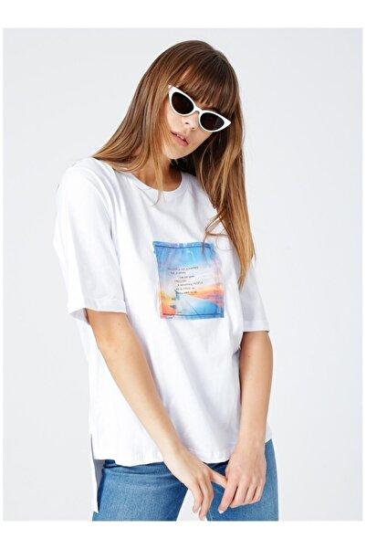 Fabrika Kadın Beyaz Baskılı Tişört