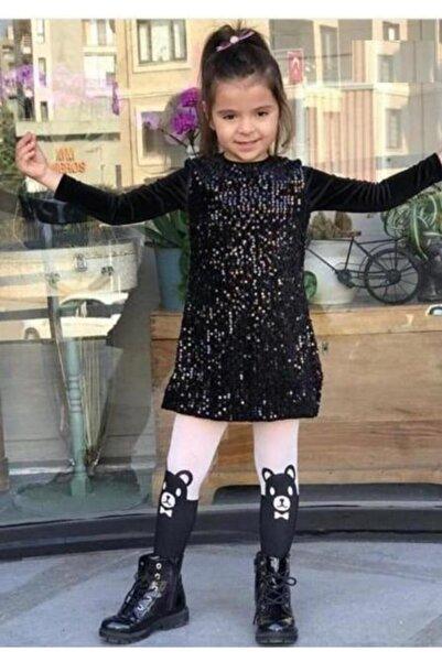 Riccotarz Kız Çocuk Pul Payet Işlemeli Siyah Kadife Elbise