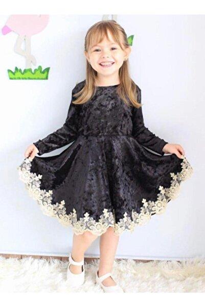 Riccotarz Kız Çocuk Siyah Etek Ucu Güpürlü Kadife Elbise