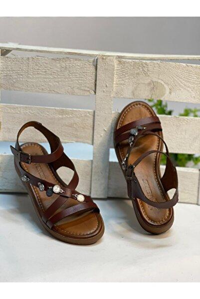 Venüs Kadın Kahverengi Hakiki Deri Sandalet