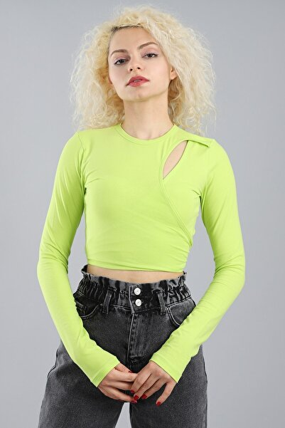 Arlin Kadın Önü Pencereli Bağlamalı Uzun Kollu Neon Bluz
