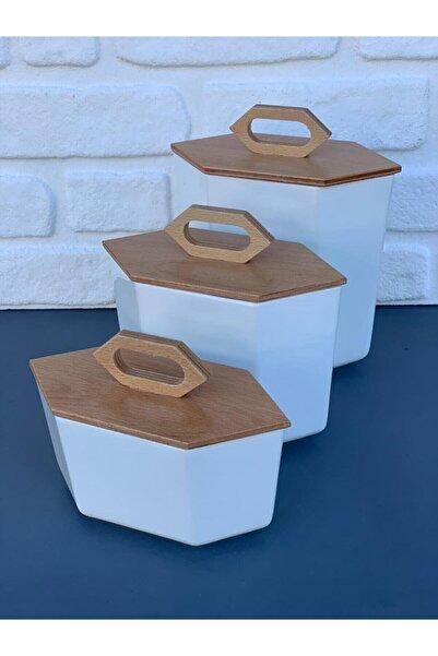 AROW Prizma Porselen Baharalık Kavanoz Set 3'lü Set (1000ml-1500ml-2500ml)