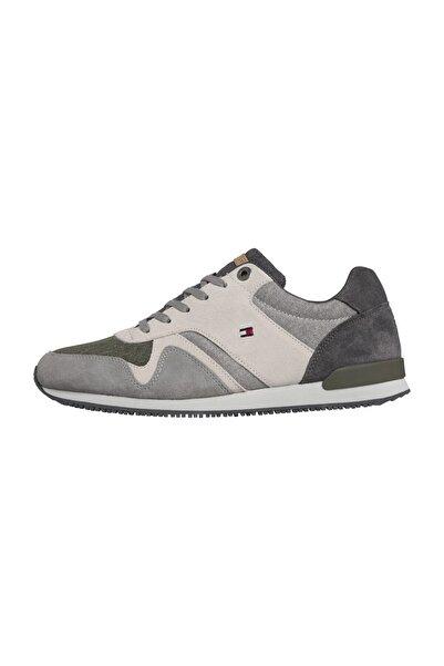 Tommy Hilfiger Erkek Gri Sneakers iconic Material Mix Runner FM0FM02407