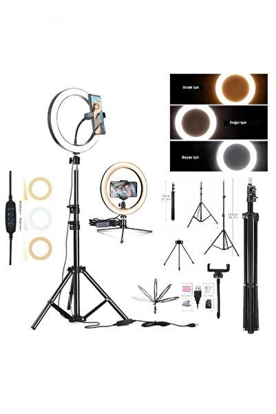 EN SİGA Ring Light Youtuber Tiktok Çekim Telefon Tutucu Makyaj Işığı Tripod+ Masa Ayaklı 14 Inç +2.1 mt