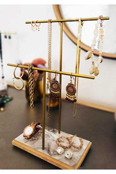 Drm Wood Gold Altın Takı Standı, Takılık, Küpelik, Bileklik, Kolye Seti, Takı Dolabı Düzenleyici