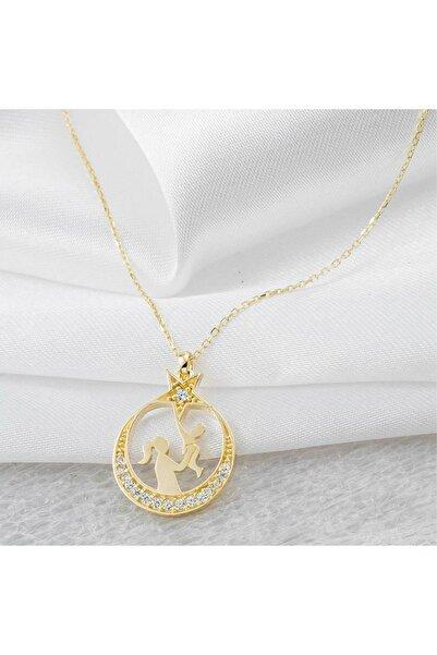 Bilezikci Ay Yıldızlı Anne Bebek Altın Kolye