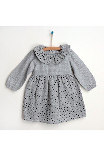 HelloBaby Kız Bebek Kış Basic Flok Baskılı Elbise