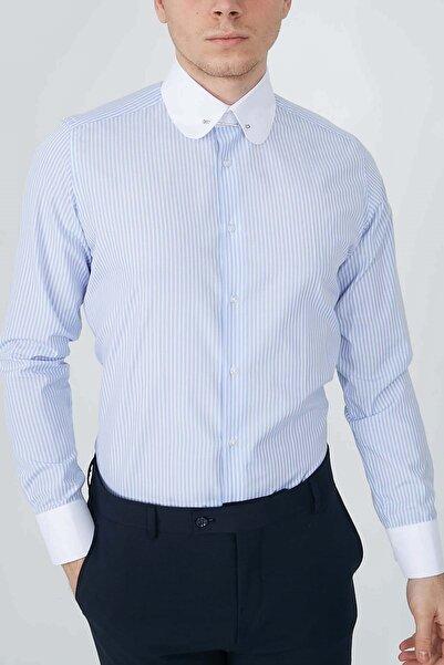 Fc Plus Erkek Mavi Manşetli Iğneli Bebe Yaka Gömlek 2965