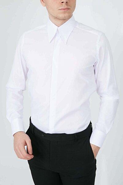 Fc Plus Erkek Beyaz Çizgili Uzun Yaka Pamuk Gömlek