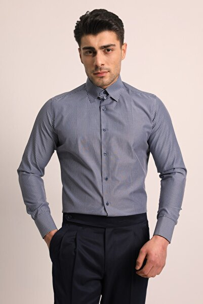 Fc Plus Erkek Lacivert Birit Yaka Duble Menşet Gömlek