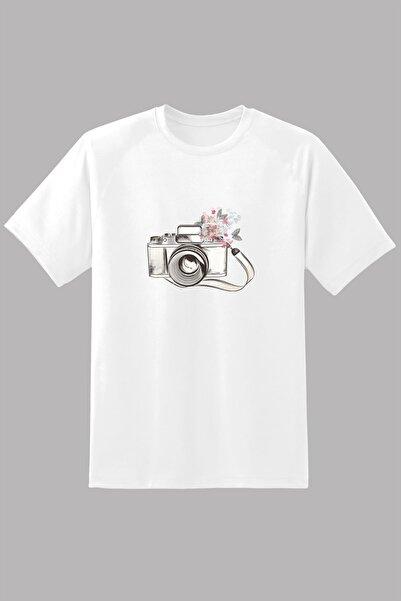 Kio Tişört Nostalji Erkek Eski Retro Analog Fotoğraf Makinası Baskılı T-Shirt